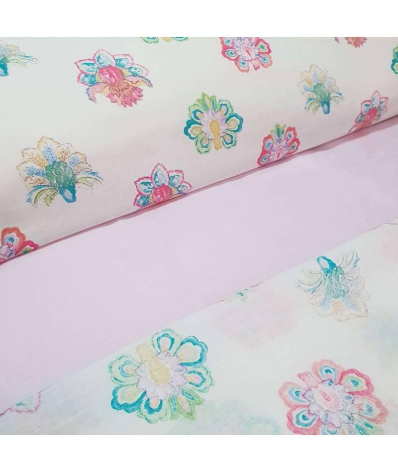Juego de Sábanas con estampado floral. Sabanas Paisley. Ropa de cama. Textil de hogar