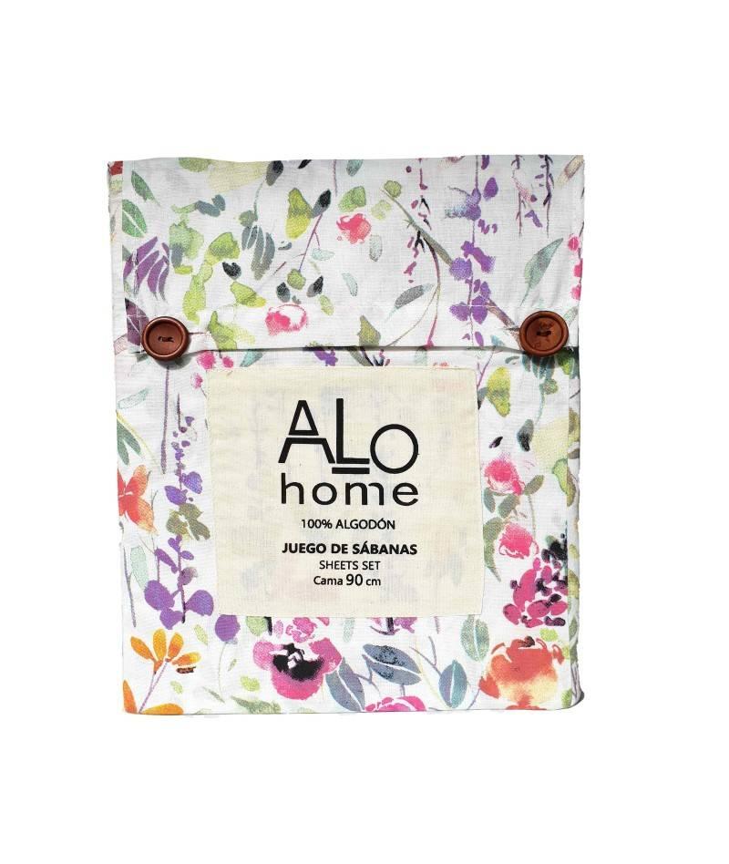 Juego de sábanas estampado floral acuarela. sábanas estampadas. textil de hogar.