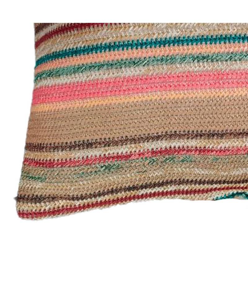 Cojín yute ecológico multicolor. Textil de hogar. Cojín decorativo de exterior