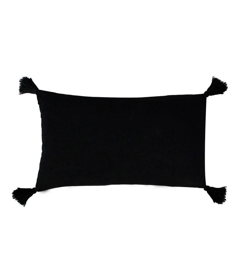 Cojín étnico color negro con borlas. cojines decorativos. textil de hogar.