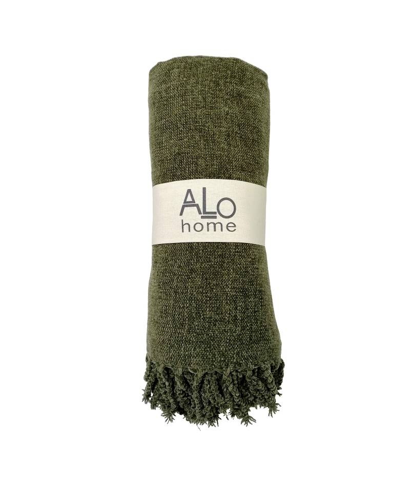 Manta Microchenilla extra suave color verde. Manta para sofá o cama. Mantita muy suave.